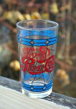 Pepsi-Cola Pepsi Soda Pop Clear Drinking Stained Glass Design Blue Red