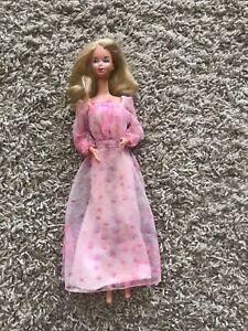 Vintage Mattel Kissing Barbie Original Pink Floral Chiffon Dress EUC Superstar