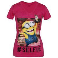 Despicable Me Selfie Minion Junior V-Neck Shirt New