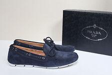 New sz 9 US / 8 UK Prada Slip on Navy Blue Suede Driving Loafer MEN Dress Shoes