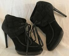 BURBERRY Black Ankle Leather Beautiful Boots Size 38 (218vv)