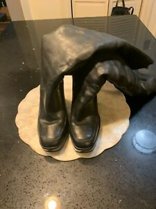 MICHAEL KORS TALL BLACK LEATHER WEDGE BOOTS WITH FUR INSIDE SIZE 10