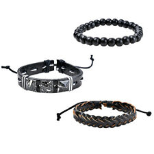 3Pcs Faux Leather Braid Bracelets Men's Beads Bangle Bracelet Jewelry Cheap