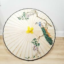 Parasol Asian China Umbrella Peacock Rice Paper Floral Bamboo Hand Painted