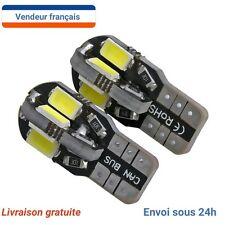 2 Veilleuses LED W5W T10 Canbus ANTI ERREUR BLANC XENON 6000k 8 LED