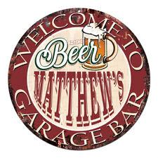 Cpbg-0025 Beer Matthew'S Garage Bar Chic Tin Sign Man Cave Decor Gift Ideas