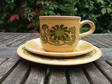 Vintage Kiln Craft Trio - Cup, Saucer and Plate Green 70's Flower Power Pattern