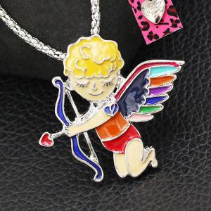Betsey Johnson Colorful Angel Cupid Cherub Love Pendant Chain Necklace/Brooch