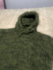 Hand knitted WOOL MOHAIR Pullover Hoodie sweater with turtleneck