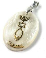 Mother of Pearl Messianic Star of David Menorah Fish Pendant Handmade Nazareth