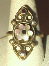 Vtg Sterling Gold Plate Floral Mop Onyx Inlay Filligree Ring 3.4g Sz 6.5