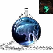 GLOW IN THE DARK MOON WOLF LARGE PENDANT NECKLACE / Jewellery Gift Idea