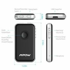Mpow 2in1 Wireless Bluetooth Receiver Transmitter RCA 3.5mm Audio Player Adapter