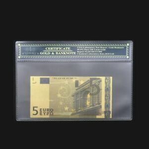 Nice Colored Euro Gold Banknote 5 Euro Banknotes Fake Money Bill With Plastic