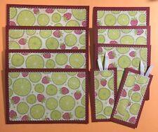 Premade Scrapbook Mat Set Cards Summer Red/Green Strawberry Lime Lot- Sewn Jenn