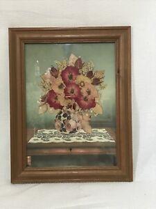 "Lovely Vintage Pressed Flower Picture Framed 7"" X 9.5"" Joanna Sheen VGC"