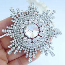 "3.15"" Bridal Sunflower Flower Brooch Pin Pendant Clear Austrian Crystal 06014C1"