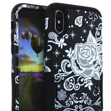 For iPhone X - Hard & Soft Hybrid Armor High Impact Kickstand Case Black Flowers