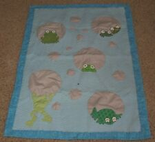 OOAK Artisan Handmade Hand Quilted Frog Baby Blanket Quilt Blue Green