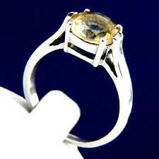 New Womens Sterling Silver 6.58 CT Citrine CZ Ring Size 7.5