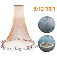 Saltwater Fishing Cast Net for Bait Trap Fish 4ft/6ft/8ft Radius 3/4in Mesh Size