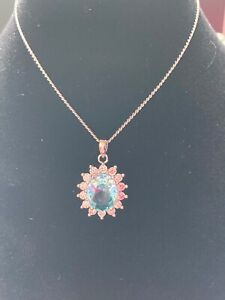 BUCKLEY LONDON SILVER NECKLACE AQUAMARINE STONE  CLEAR CRYSTALS & EARRINGS