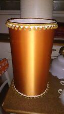 VINTAGE LAMPENSCHIRM Rost-metallic mit gelben Bommeln 50cm hoch Stehlampe