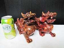 Vintage Chinese Hand-Carved Red Hard Stone Carving Foo Dog. Pair