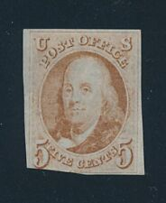 drbobstamps US Scott #1 Mint Heavily Hinged OG Scarce Stamp w/Creasing