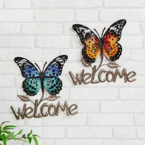Metal Welcome Wall Hanging Sign BUTTERFLY  Choice of Colour Country Living