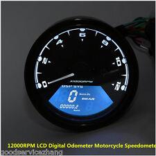LCDDigital Tachometer Speedometer Odometer Motorcycle Motorbike 12000RPM KMH MPH