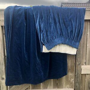 """Vintage Cotton Velvet curtains Blue wide! Retro W138"""" D46"""""""