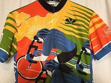 Voler Cycling Jersey Womens Large L Orange Blue Yellow Tierra Bella Touring Club