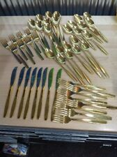 Vtg Large Estate Lot ROGERS Cutlery Stainless Gold Finish Flatware