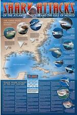 Shark Attacks Poster of the Atlantic and Gulf of Mexico - Nautical Art Print