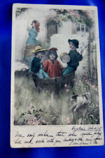 Antique postcard child wire haired fox terrier Russell dog photogravure Beauty!