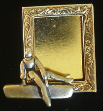 Gymnast Male Photo Frame Pin Gymnastic Horse 24 Karat Gold Plate Brass