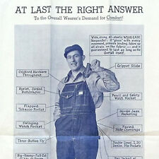 Original BIG DAM OVERALLS 1930s Poster DENIM WORK CONSTRUCTION Coverall NOS