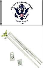 3x5 U.S. Coast Guard Flag w/ 6' Ft White Flagpole Flag Pole kit