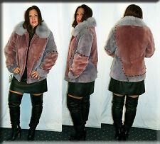 New Grape Sheared Beaver Fur Jacket Fox Fur Collar Size Medium 6 8 M