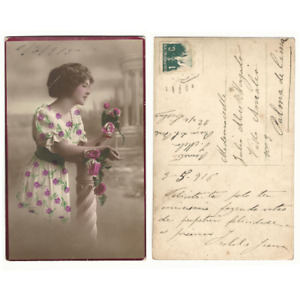 Antique Vintage Postcard colored Victorian lady with flowers 1915 -e