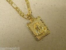 Lady's 20in Figaro Chain & Lady Sorrows Dolorosa Charm Set Yellow Gold Plated