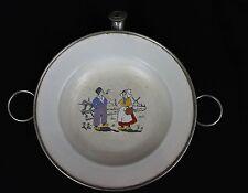 Vintage 1920s Graniteware Enamelware Children's Feeding Dish Dutch Girl Boy