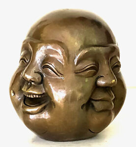 115mm China Old tibet brass 4 faces buddha head statue Signed Auspicious Figures