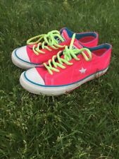 Converse One Star Women's Size 6.5 Hot Pink Blue Shoes Canvas Lo Tops Sneakers