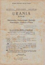 Urania, rivista, 1925, anno XIV n. 3, astronomia, mineralogia, chimica, fisica