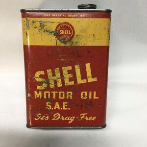 "SHELL ""DRAG FREE"" SAE 40 1 QUART OIL TIN"