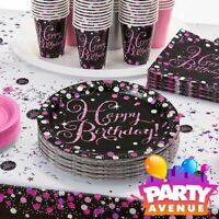 Pink Sparkling Celebration Happy Birthday Party Supplies Decorations Tableware