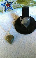 Teardrop Labradorite Necklace Silver Filegree Adjustable Ring Set Handmade