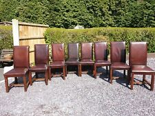 Dining chairs Highback Distressed Brown Real Leather Oak Free Delivery See Info
